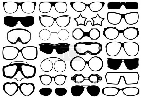 Different eyeglasses isolated