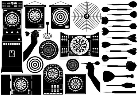 Illustration for Set of different dartboards isolated on white - Royalty Free Image