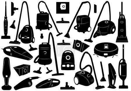 Set of different vacuum cleaners isolated on white...