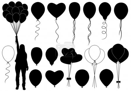 Set of different balloons