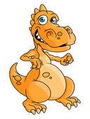 Roztomilý kreslený oranžový drak nebo dinosaurus