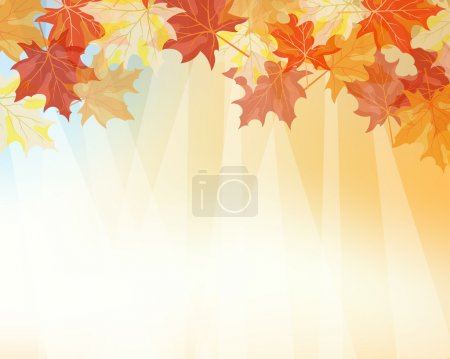 Illustration for Autumn maples falling leaves background. Vector illustration. - Royalty Free Image