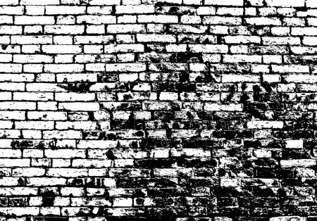 Grunge white and black brick wall background. Vect...