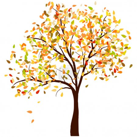 Photo for Autumn birch tree with falling leaves background. Vector illustration. - Royalty Free Image