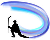 Hockey player silhouette with line background Vector illustration with transparency EPS 10
