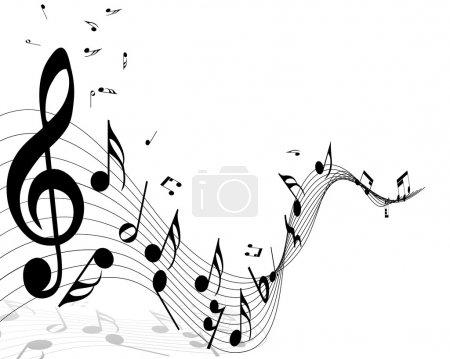 Illustration pour Notes musicales fond de portée avec des lignes. Illustration vectorielle . - image libre de droit