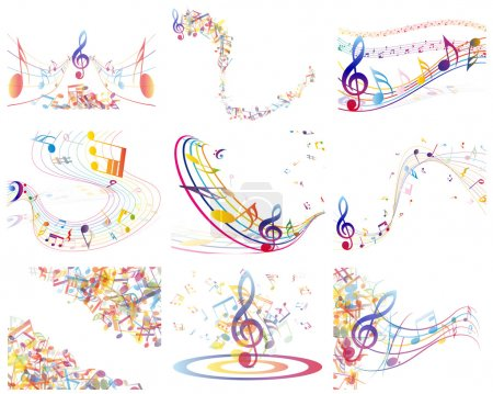 Illustration pour Notes de musique multicolores fond du personnel. Illustration vectorielle avec transparence EPS10. - image libre de droit