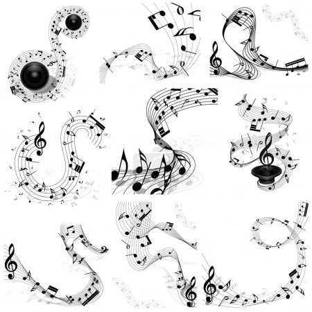 Illustration pour Ensemble de notes musicales. Quatre images. Illustration vectorielle. - image libre de droit
