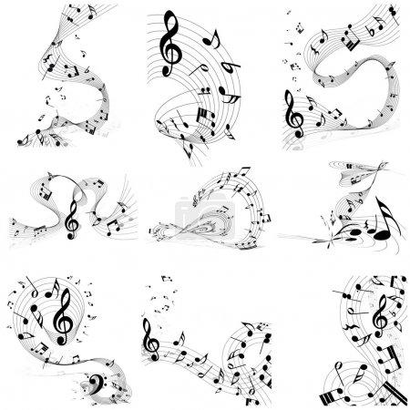 Illustration pour Ensemble de notes musicales. Quatre images. Illustration vectorielle. - image libre de droit
