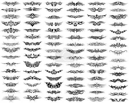 Illustration pour Patterns of tribal tattoo set. Illustration vectorielle EPS 8 entièrement modifiable . - image libre de droit