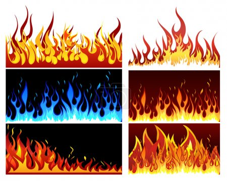 Illustration for Big collection of fire elements. Fully editable EPS 10 vector illustration. - Royalty Free Image