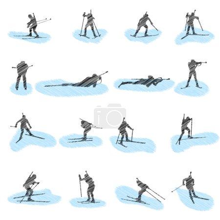 Set of biathlon grunge silhouettes