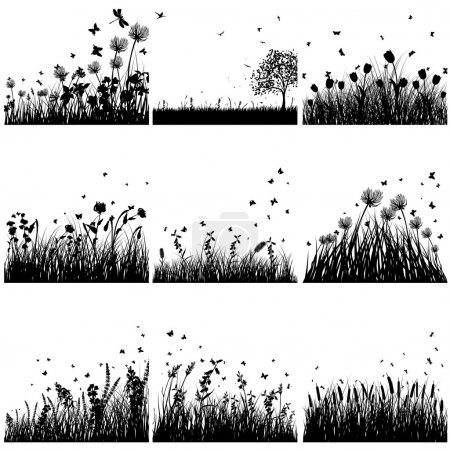 Illustration for Vector grass silhouette set. All objects are separated. - Royalty Free Image