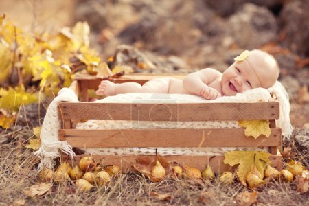 Photo for Autumn newborn baby relaxing in wooden box. Close up portrait. - Royalty Free Image