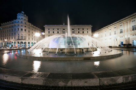 Fountain in De Ferrari square in Genoa, Italy