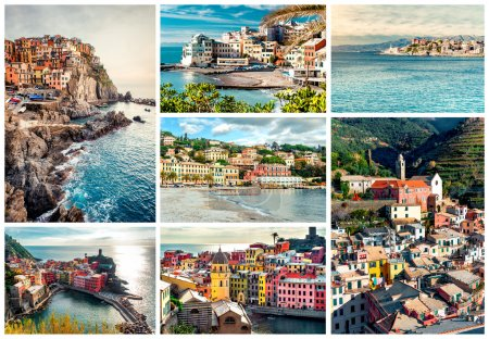 Photo for Collage of most famous landmarks in Italy. Italian Riviera-Genoa, Manarola, Vernazza, Bogliasco, Santa Margherita - Royalty Free Image