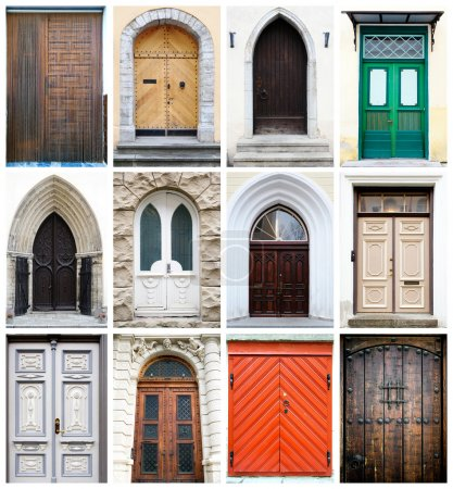 Collage of old-fashioned multicolored doors