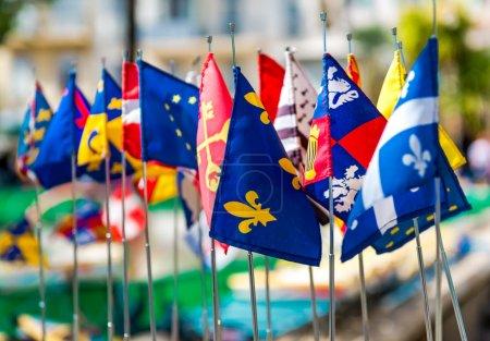 Photo pour Photo de drapeaux multicolores, cannes. France - image libre de droit