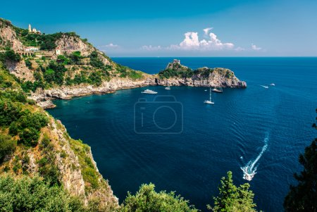 Amalfi Coast. Stunning landscape with hills and Me...