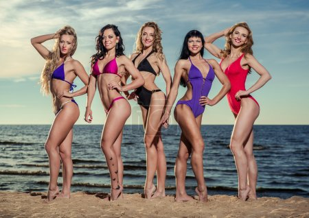 Five beautiful and sexy ladies in bikini posing on the beach