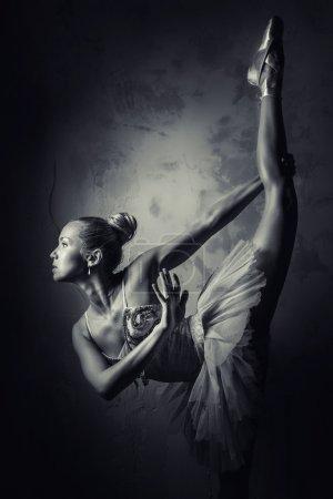 Lovely ballerina, black and white photo