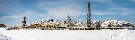 Panoramic view of Naval vessels on the Petropavlovsk-Kamchatsky seaport