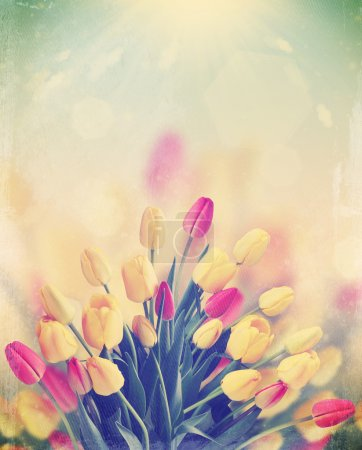 Photo pour Un gros bouquet de tulipes sur le fond du ciel ensoleillé, vintage - image libre de droit