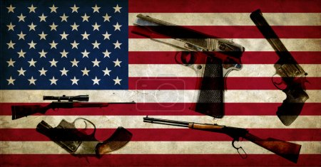 USA flag and weapons
