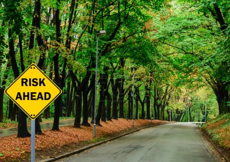 """RISK AHEAD"" sign against road in green forest - Business concep"
