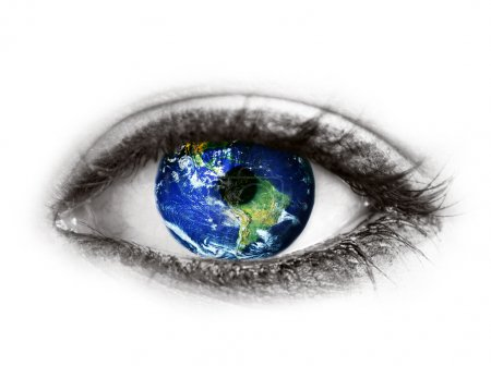 "Planet earth in eye isolated on white - ""Elements of this image"