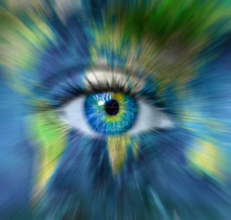 Planet earth and blue human eye in motion blur - Time passing fo