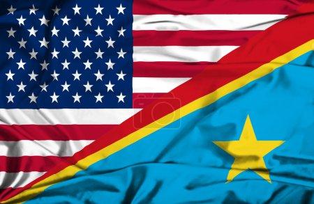 Waving flag of Congo Democratic Republic and USA