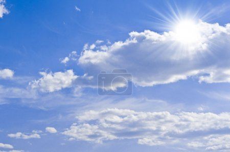 Photo for Blue sky with clouds and sun - Royalty Free Image