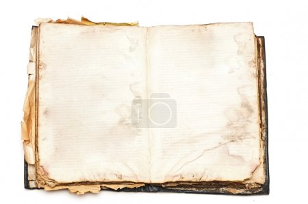 Photo for Old book open isolated on white background - Royalty Free Image