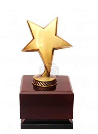 Photo for Golden star award on the white background - Royalty Free Image
