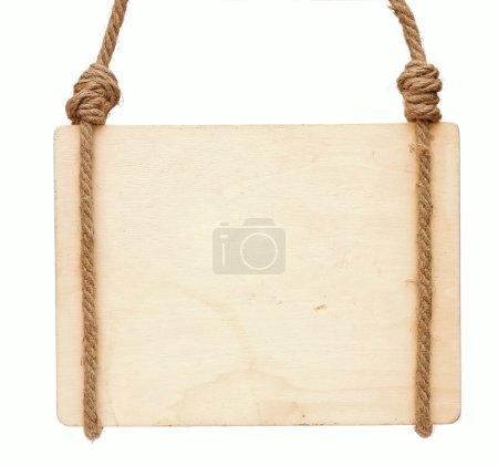 Photo pour Panneau bois blanc avec espace pour texte isolé sur blanc - image libre de droit