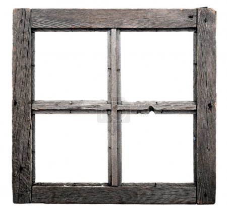 Photo for Old window frame isolated on white background. - Royalty Free Image