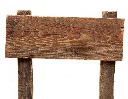 Photo pour Vieux panneau en bois altéré isolé sur un fond blanc - image libre de droit