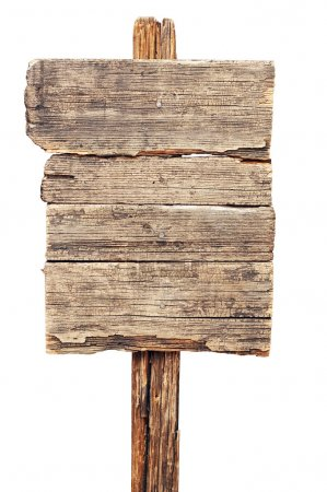 Photo for Vintage brown wooden signboard against white background - Royalty Free Image
