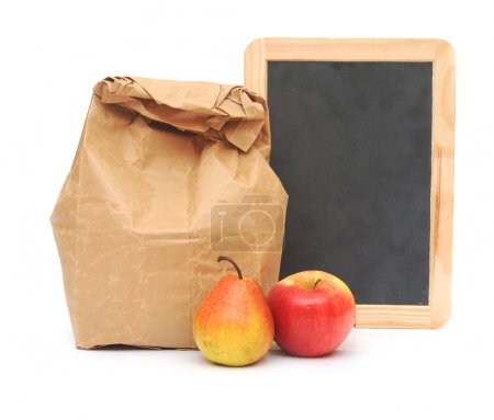 school lunch and blank blackboard