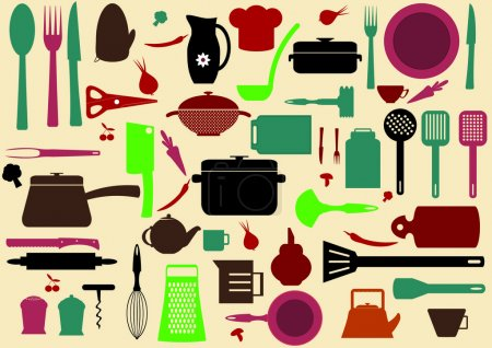 Photo for Cute kitchen pattern. Illustration of kitchen tools for cooking - Royalty Free Image
