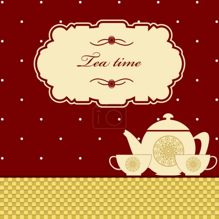 Photo for Cute polka dot brown tea time background print - Royalty Free Image