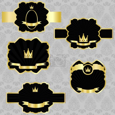 Vector set: black gold-framed labels