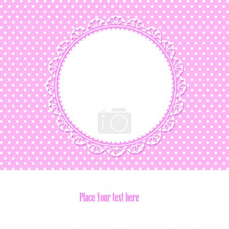 Photo for Baby shower card for baby girl, with polka dots background , vector illustration. - Royalty Free Image