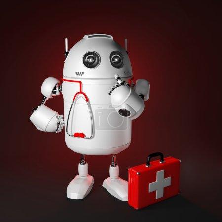 Photo pour Robot médical. Concept de réparation informatique. Rendu sur fond sombre - image libre de droit