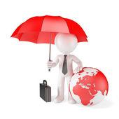 Businessman with Umbrella and earth globe.