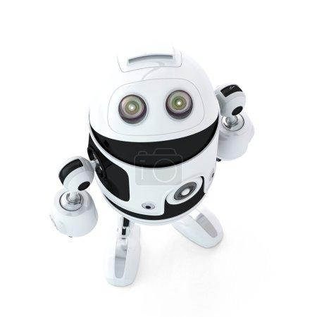 Photo pour Robot Android chercher. isolé sur fond blanc - image libre de droit