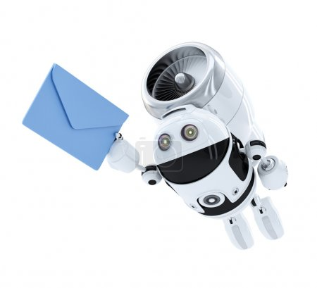 Photo for Android robot flying with envelppe. E-mail delivery concept. Isolated - Royalty Free Image