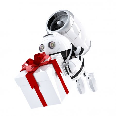 Photo for Robot delivering gift box. Express delivery concept - Royalty Free Image