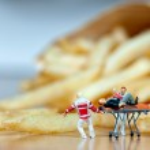 Heart attack. Unhealthy food concept. Macro photo...